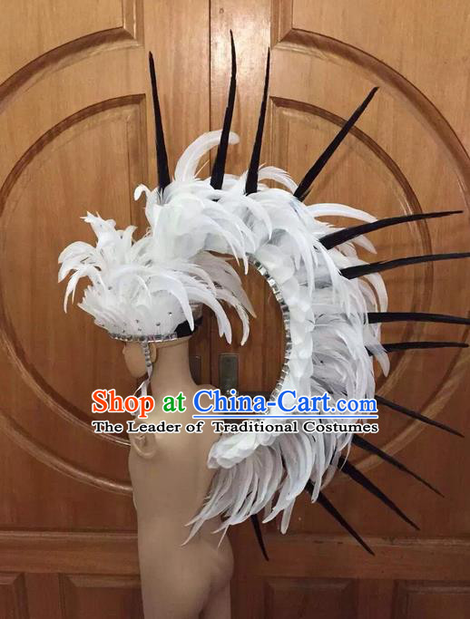 Top Grade Professional Stage Show Halloween Parade Big Hair Accessories, Brazilian Rio Carnival Samba Dance Modern Fancywork White Feather Soldier Headdress for Kids