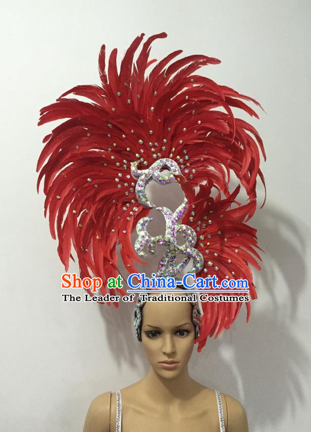 Top Grade Professional Stage Show Halloween Parade Big Hair Accessories, Brazilian Rio Carnival Samba Dance Modern Fancywork Red Feather Giant Headpiece for Kids