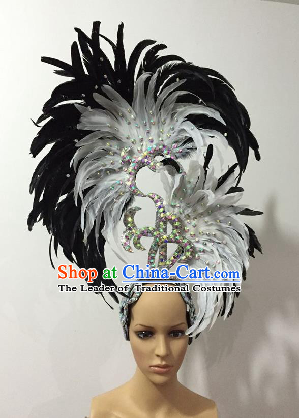 Top Grade Professional Stage Show Halloween Parade Big Hair Accessories, Brazilian Rio Carnival Samba Dance Modern Fancywork White and Black Feather Giant Headpiece for Kids