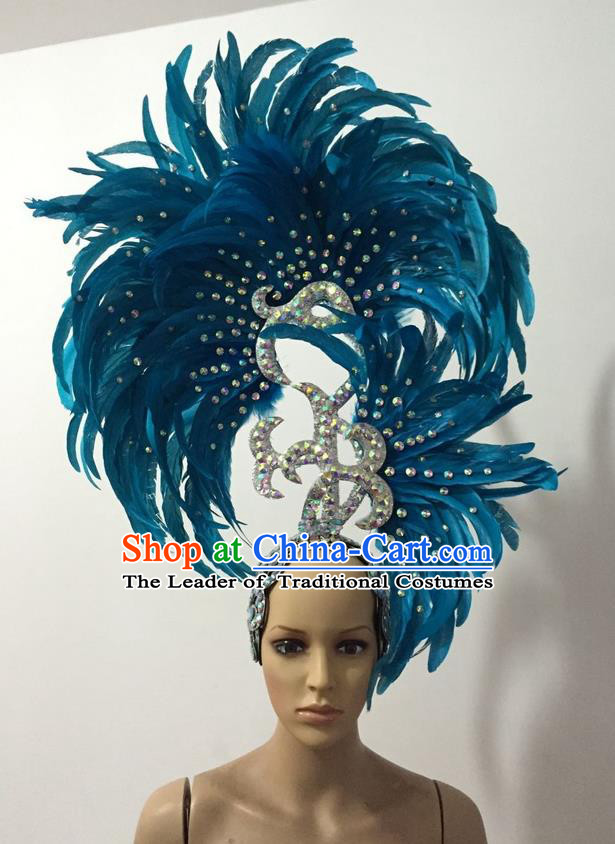 Top Grade Professional Stage Show Halloween Parade Big Hair Accessories, Brazilian Rio Carnival Samba Dance Modern Fancywork Light Blue Feather Giant Headpiece for Kids