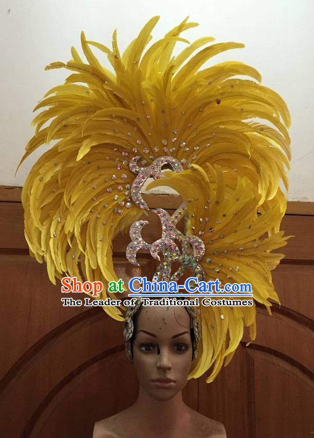 Top Grade Professional Stage Show Halloween Parade Big Hair Accessories, Brazilian Rio Carnival Samba Dance Modern Fancywork Yellow Feather Giant Headpiece for Kids