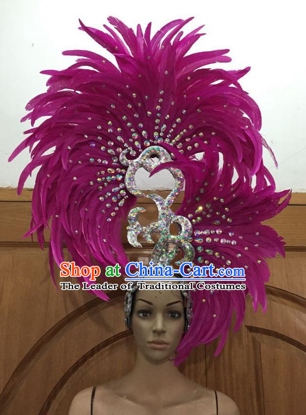 Top Grade Professional Stage Show Halloween Parade Big Hair Accessories, Brazilian Rio Carnival Samba Dance Modern Fancywork Rosy Feather Giant Headpiece for Kids
