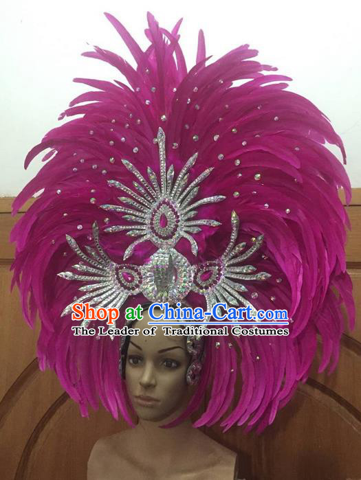Top Grade Halloween Parade Hair Accessories Brazilian Rio Carnival Samba Dance Rosy Feather Giant Headwear for Women
