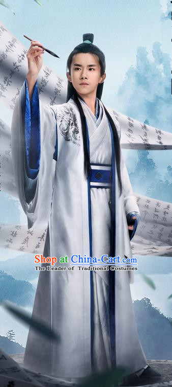 Traditional Chinese Ancient Warring States Time Imperial Prince Costumes, Song of Phoenix Young Scholar Hanfu Clothing and Handmade Headpiece Complete Set