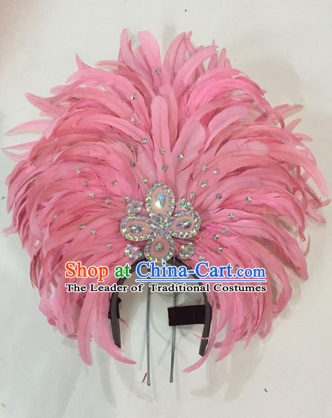 Top Grade Brazilian Rio Carnival Samba Dance Hair Accessories Giant Headpiece Headwear, Halloween Parade Big Pink Feather Headdress for Women