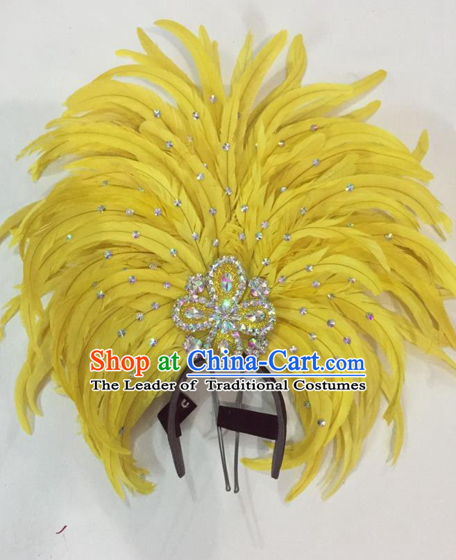 Top Grade Brazilian Rio Carnival Samba Dance Hair Accessories Giant Headpiece Headwear, Halloween Parade Big Yellow Feather Headdress for Women