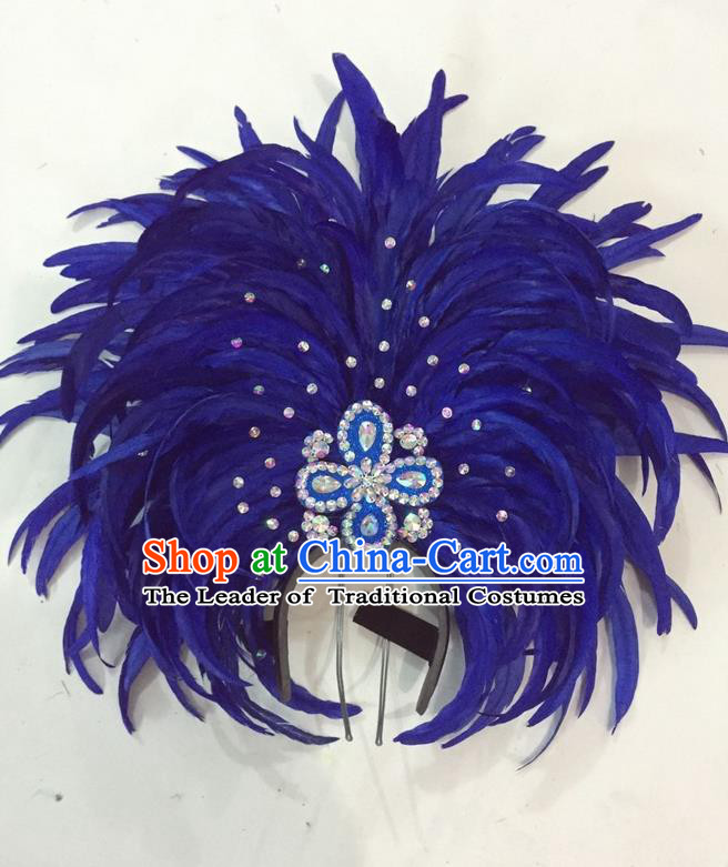Top Grade Brazilian Rio Carnival Samba Dance Hair Accessories Giant Headpiece Headwear, Halloween Parade Big Royalblue Feather Headdress for Women