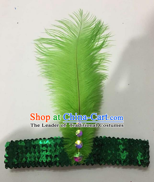 Top Grade Brazilian Rio Carnival Samba Dance Green Feather Hair Accessories Headpiece, Halloween Parade Crystal Headwear for Women