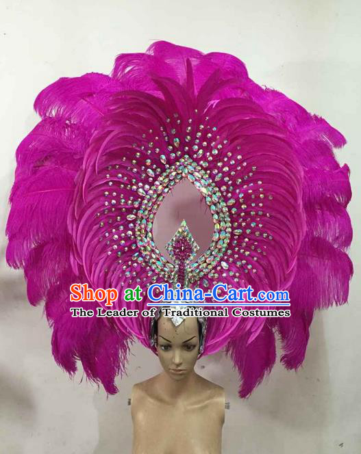 Top Grade Brazilian Rio Carnival Samba Dance Rosy Feather Big Hair Accessories Deluxe Headpiece, Halloween Parade Giant Headwear for Women