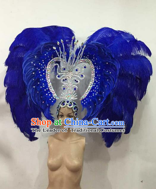 Top Grade Brazilian Rio Carnival Samba Dance Blue Feather Big Hair Accessories Deluxe Headpiece, Halloween Parade Giant Headwear for Women