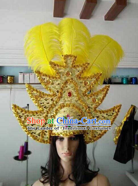 Top Grade Brazilian Rio Carnival Samba Dance Yellow Hair Accessories Headpiece, Halloween Parade Headwear for Women