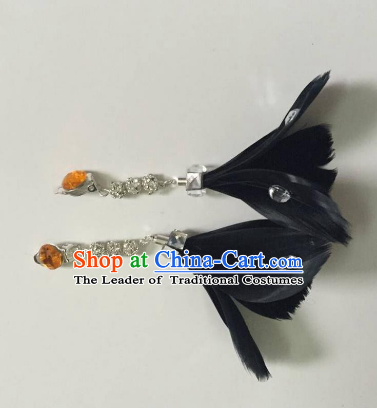 Top Grade Brazilian Rio Carnival Samba Dance Accessories Earrings, Halloween Parade Black Feather Eardrop for Women