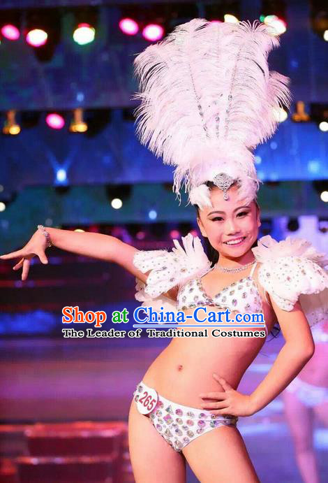 Top Grade Professional Performance Catwalks Costume Swimsuit and Headwear, Traditional Brazilian Rio Carnival Samba Dance White Feather Bikini Clothing for Kids