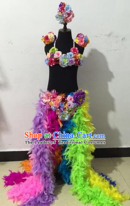 Top Grade Professional Performance Catwalks Swimsuit Flowers Costume, Traditional Brazilian Rio Carnival Samba Dance Modern Fancywork Bikini Clothing for Girls