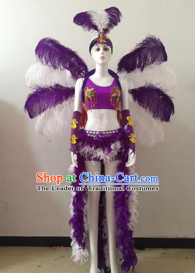 Top Grade Professional Performance Catwalks Purple Feather Bikini and Headwear Wings, Brazilian Rio Carnival Samba Opening Dance Swimsuit Clothing for Women