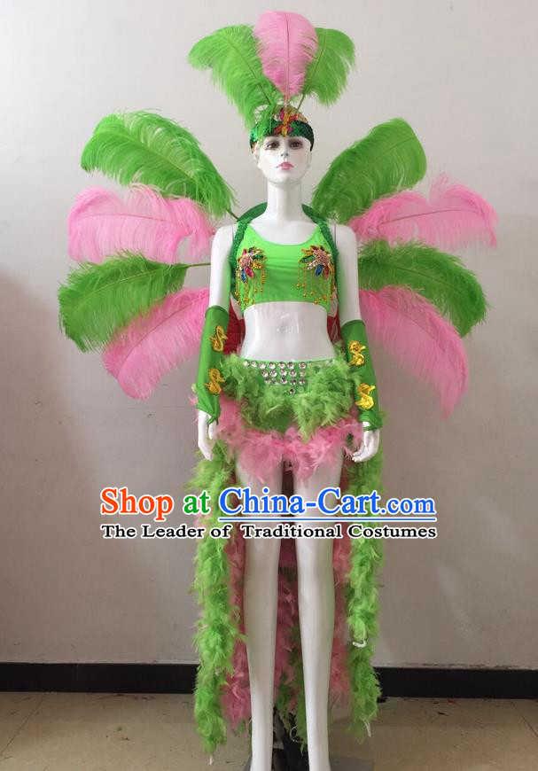 Top Grade Professional Performance Catwalks Pink and Green Feather Bikini and Headwear Wings, Brazilian Rio Carnival Samba Opening Dance Swimsuit Clothing for Women
