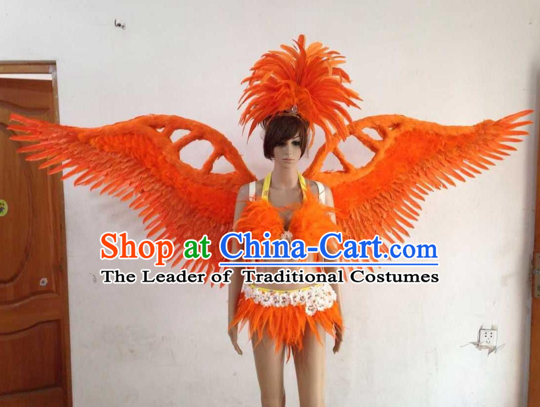 Top Grade Professional Performance Catwalks Orange Swimsuit, Brazilian Rio Carnival Parade Samba Opening Dance Bikini and Feather Wings for Women