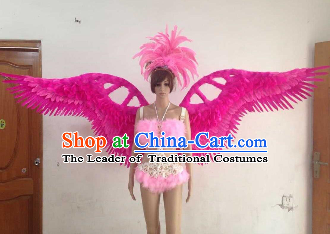 Top Grade Professional Performance Catwalks Rosy Swimsuit, Brazilian Rio Carnival Parade Samba Opening Dance Bikini and Feather Wings for Women