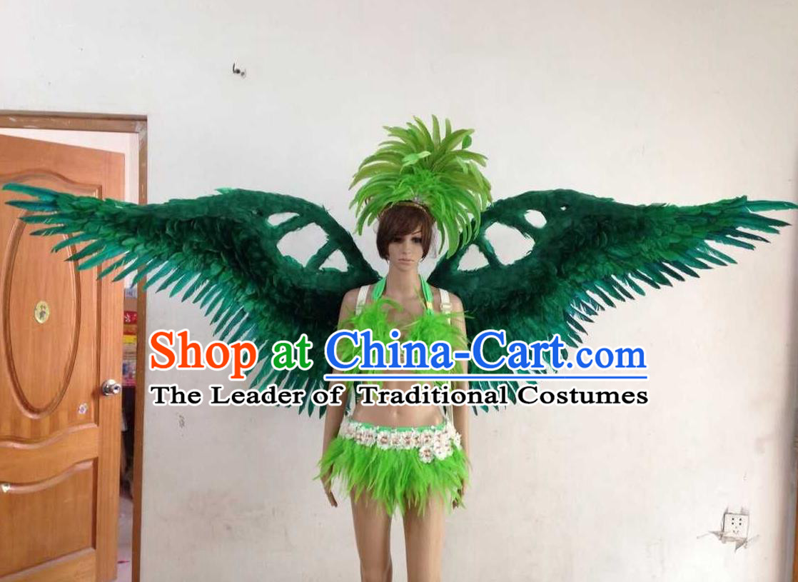 Top Grade Professional Performance Catwalks Green Swimsuit, Brazilian Rio Carnival Parade Samba Opening Dance Bikini and Feather Wings for Women