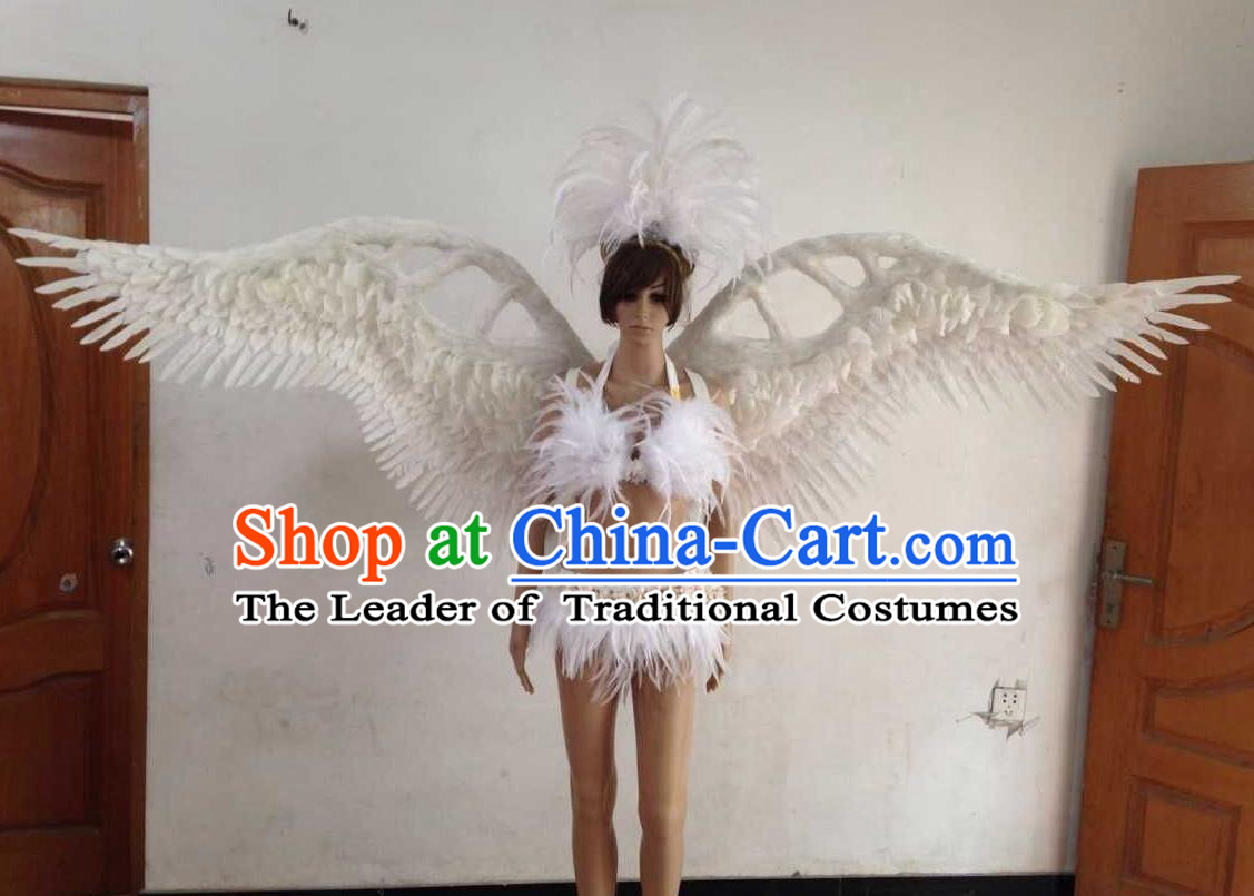 Top Grade Professional Performance Catwalks White Swimsuit, Brazilian Rio Carnival Parade Samba Opening Dance Bikini and Feather Wings for Women