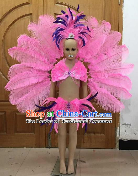 Top Grade Professional Performance Catwalks Bikini and Pink Feathers Wings, Brazilian Rio Carnival Samba Opening Dance Swimsuit Clothing for Girls