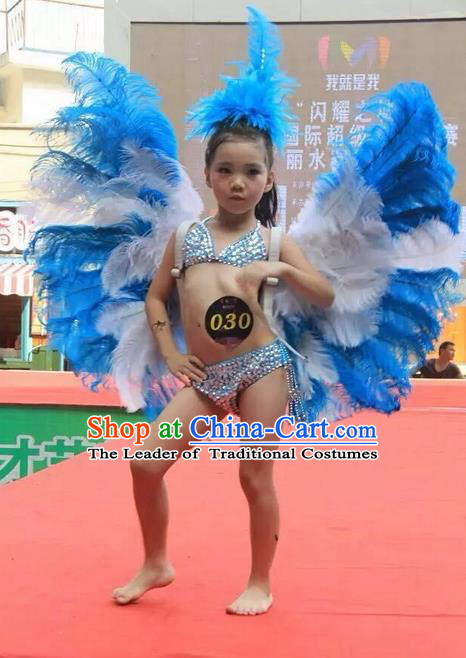 Top Grade Professional Performance Catwalks Blue Feather Swimsuit with Wings, Brazilian Rio Carnival Parade Samba Belly Dance Opening Dance Bikini and Headpiece for Kids
