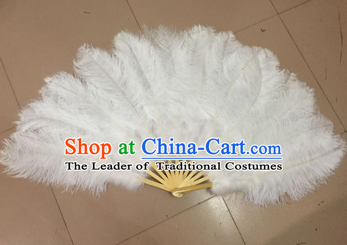 Top Grade Professional Performance Catwalks White Feather Big Fans, Brazilian Rio Carnival Parade Samba Dance Folding Fans
