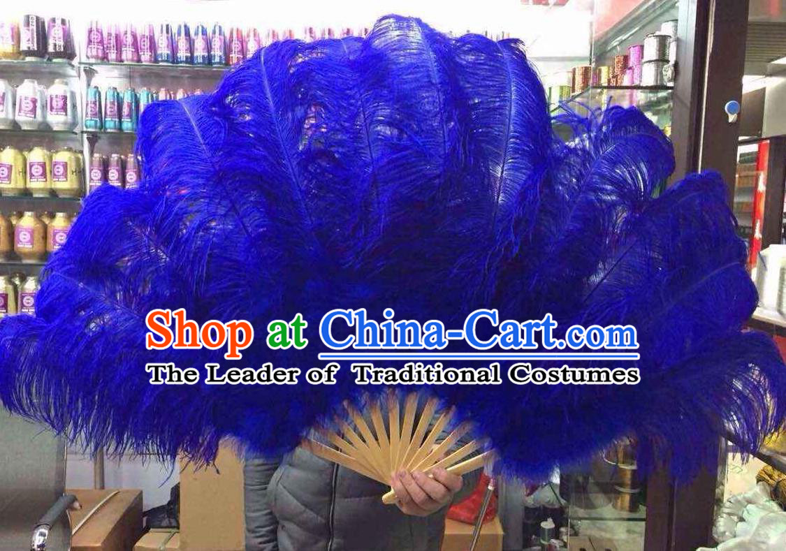 Top Grade Professional Performance Catwalks Royalblue Feather Big Fans, Brazilian Rio Carnival Parade Samba Dance Folding Fans