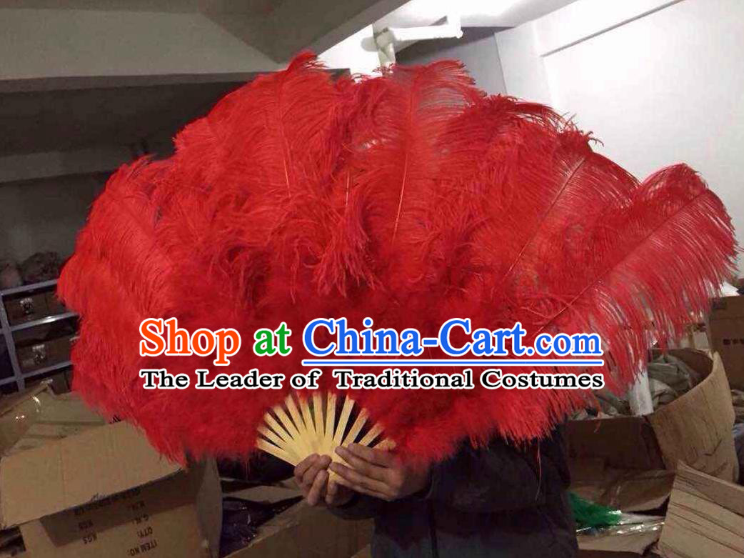 Top Grade Professional Performance Catwalks Red Feather Big Fans, Brazilian Rio Carnival Parade Samba Dance Folding Fans