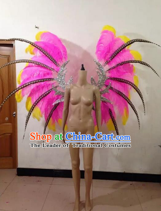 Top Grade Compere Professional Performance Catwalks Pink Feathers Wings and Headwear, Brazilian Rio Carnival Samba Opening Dance Modern Fancywork Feather Decorations for Women