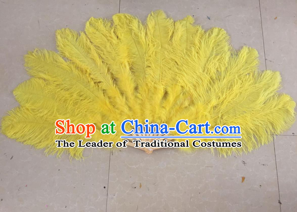 Top Grade Professional Performance Catwalks Yellow Feather Big Fans, Brazilian Rio Carnival Parade Samba Dance Folding Fans