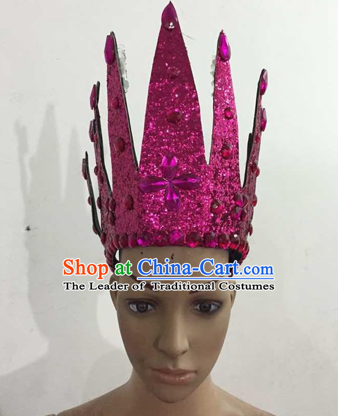 Top Grade Professional Performance Catwalks Hair Accessories, Brazilian Rio Carnival Parade Samba Dance Rosy Crystal Crown Headwear for Women