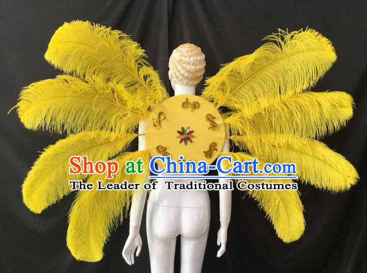 Top Grade Professional Performance Catwalks Yellow Feathers Decorations Backplane, Brazilian Rio Carnival Parade Samba Dance Wings for Women