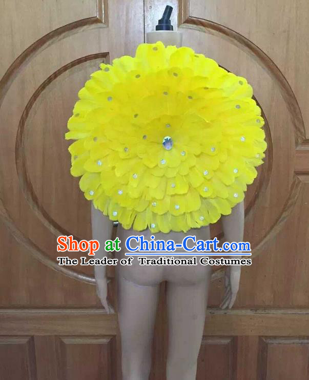 Top Grade Professional Performance Catwalks Yellow Feathers Decorations Round Backplane, Brazilian Rio Carnival Parade Samba Dance Props for Women