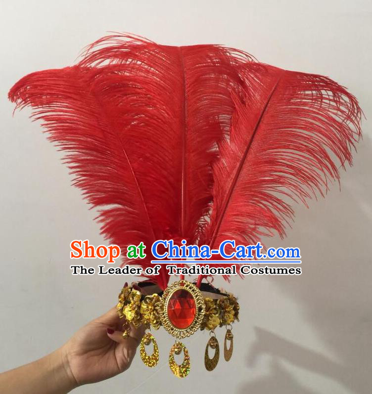 Top Grade Professional Performance Catwalks Halloween Red Feathers Head Decorations Headpiece, Brazilian Rio Carnival Parade Samba Dance Headwear for Women