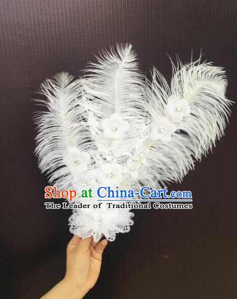 Top Grade Professional Performance Catwalks White Feathers Head Decorations Headwear, Brazilian Rio Carnival Parade Samba Dance Hair Accessories for Women