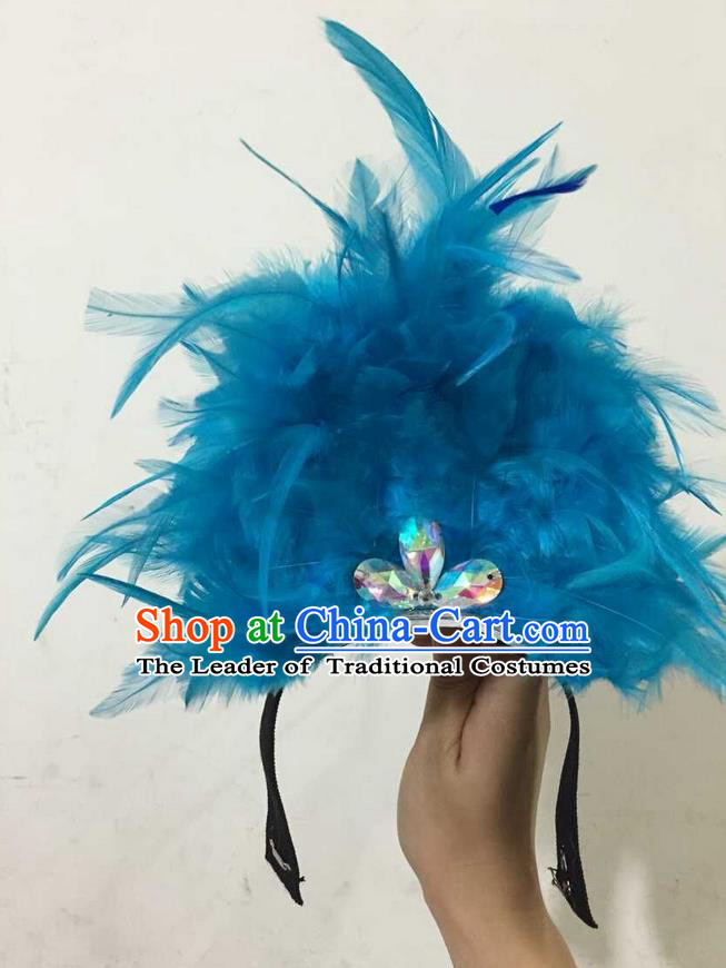 Top Grade Professional Performance Catwalks Halloween Blue Feathers Head Decorations Headpiece, Brazilian Rio Carnival Parade Samba Dance Headwear for Kids