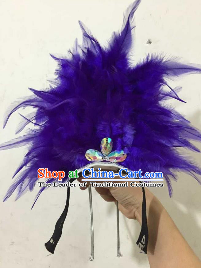 Top Grade Professional Performance Catwalks Halloween Royalblue Feathers Head Decorations Headpiece, Brazilian Rio Carnival Parade Samba Dance Headwear for Kids