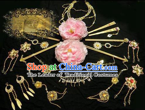 Top Grade Traditional China Ancient Cosplay Hair Accessories and Necklace Earrings, China Ancient Wedding Bride Princess Headpiece Headwear Hairpins Complete Set for Women