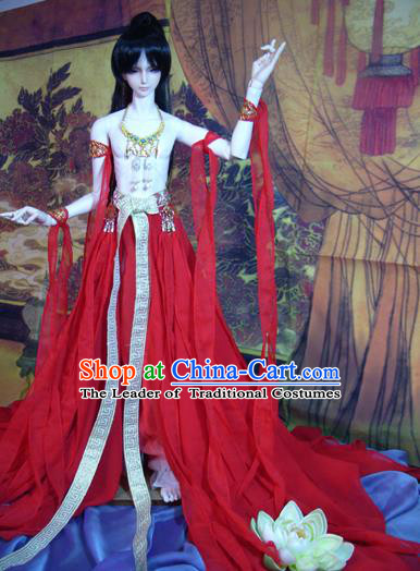 Top Grade Traditional China Ancient Palace Princess Dance Costumes Complete Set, China Ancient Cosplay Water Sleeve Dress Clothing for Adults and Kids