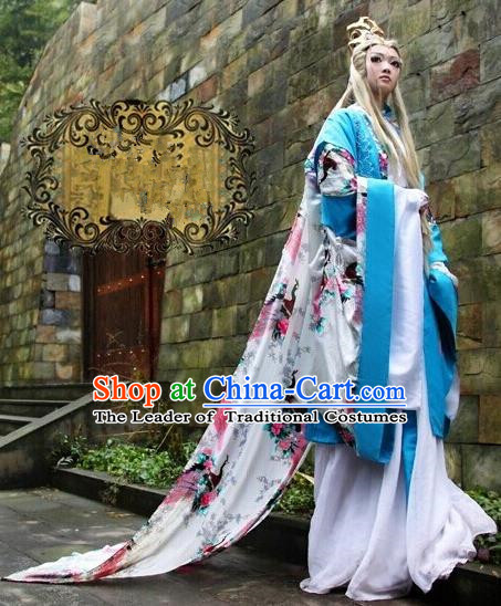 Top Grade Traditional China Ancient Cosplay Swordswoman Costumes, China Ancient Young Lady Princess Elegant Hanfu Green Dress for Women
