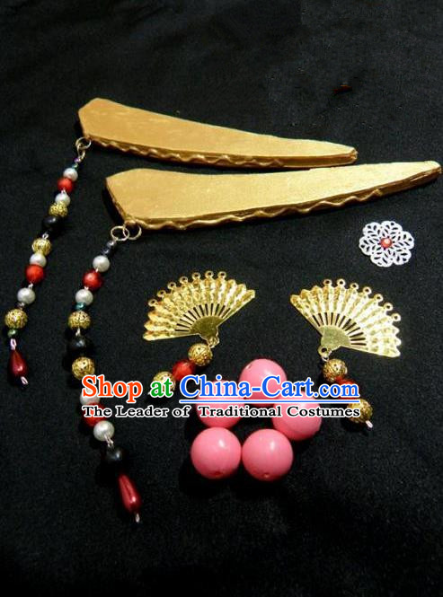 Top Grade Traditional China Ancient Cosplay Hair Accessories Complete Set, China Ancient Princess Headpiece Headwear Hairpins for Women