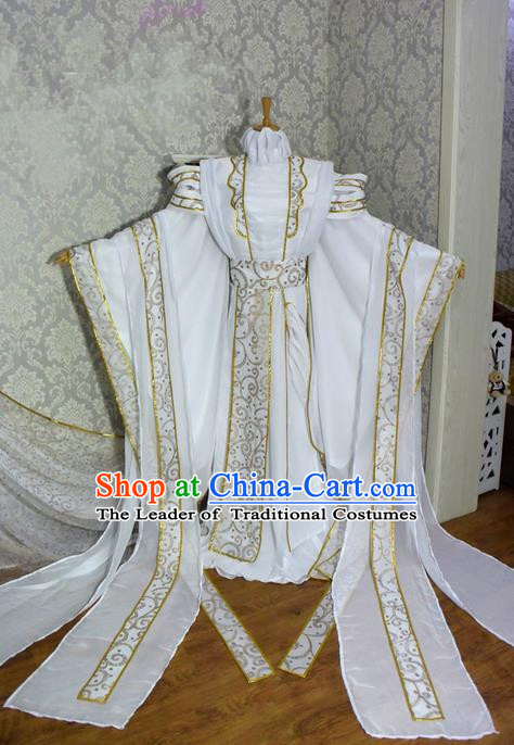 Top Grade Traditional China Ancient Cosplay Swordsman Costumes, China Ancient Royal Highness Hanfu Clothing for Men