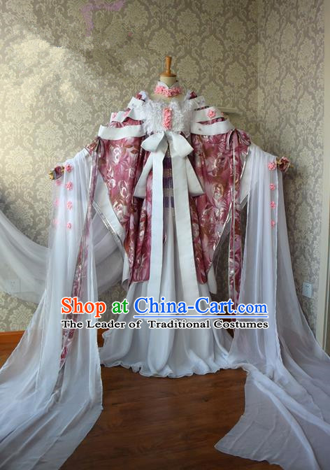 Top Grade Traditional China Ancient Cosplay Princess Costumes, China Ancient Palace Lady Fairy Dance Dress Clothing for Women