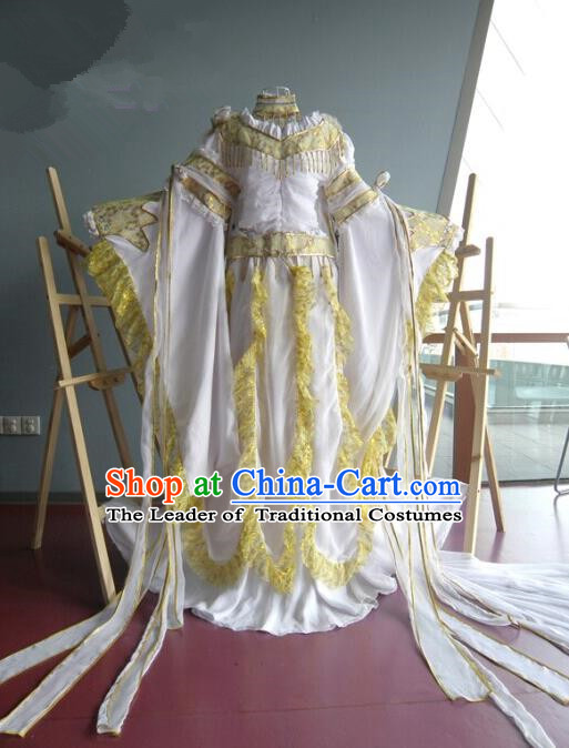 Top Grade Traditional China Ancient Cosplay Princess Costumes, China Ancient Palace Lady Fairy Dance Yellow Dress Clothing for Women