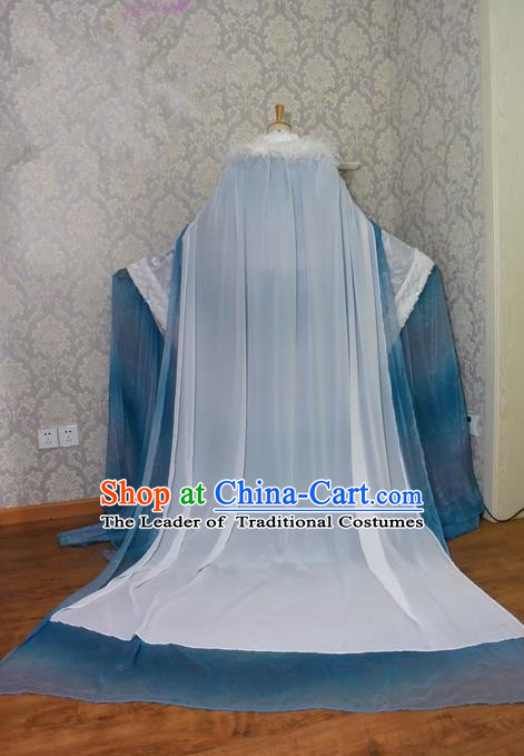 Top Grade Traditional China Ancient Cosplay Princess Costumes, China Ancient Palace Lady Fairy Blue Dress Clothing for Women
