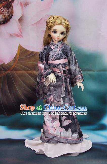 Top Grade Traditional China Ancient Female Kimono Costumes Complete Set, China Ancient Cosplay Han Dynasty Princess Printing Lotus Dress Hanfu Clothing for Adults and Kids