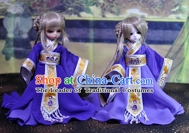 Top Grade Traditional China Ancient Female Costumes Complete Set, China Ancient Cosplay Tang Dynasty Princess Purple Dress Hanfu Clothing for Adults and Kids