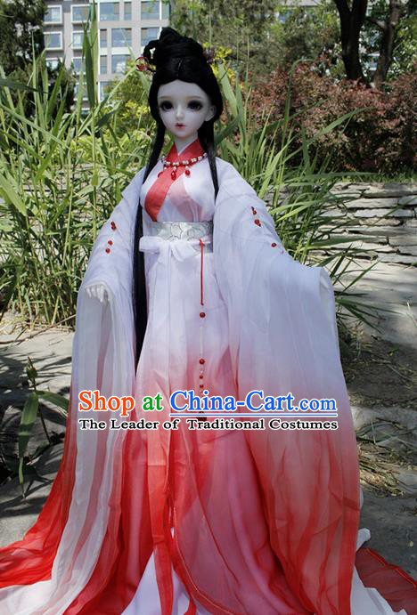 Top Grade Traditional China Ancient Female Fairy Costumes Complete Set, China Ancient Cosplay Tang Dynasty Princess Red Dress Hanfu Clothing for Adults and Kids