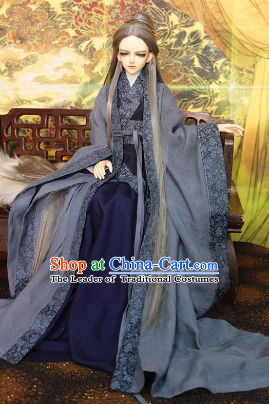 Top Grade Traditional China Ancient Fairy Costumes Complete Set, China Ancient Cosplay Tang Dynasty Princess Grey Dress Hanfu Clothing for Adults and Kids